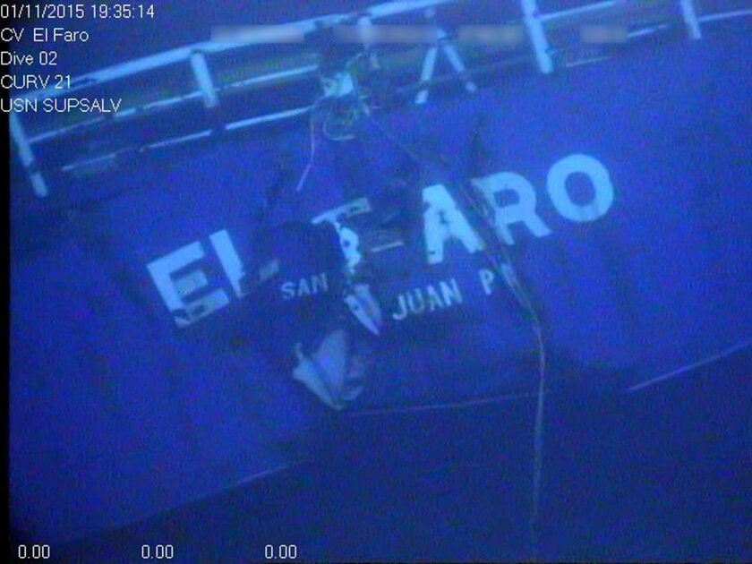 FILE - This undated image made from a video released April 26, 2016, by the National Transportation Safety Board shows the stern of the sunken ship El Faro. A second round of U.S. Coast Guard investigative hearings into the sinking of the freighter ended Friday, May 27, 2016, closing a sometimes co