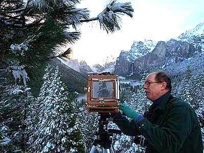 Framing Yosemite Valley in a wood 4-by-5 camera at Tunnel View