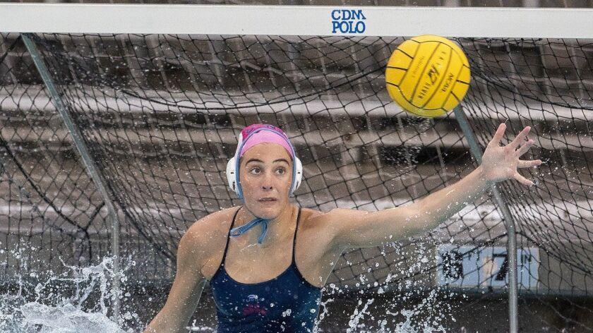 Corona del Mar's goalie Maya Avital makes a save duringa a game against Newport Harbor during a Surf