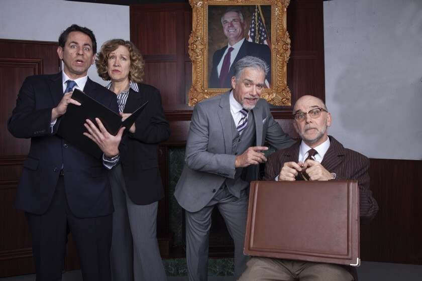 "Christopher M. Williams, Shana Wride, Louis Lotorto and John Seibert (from left) in North Coast Rep's ""The Outsider."""