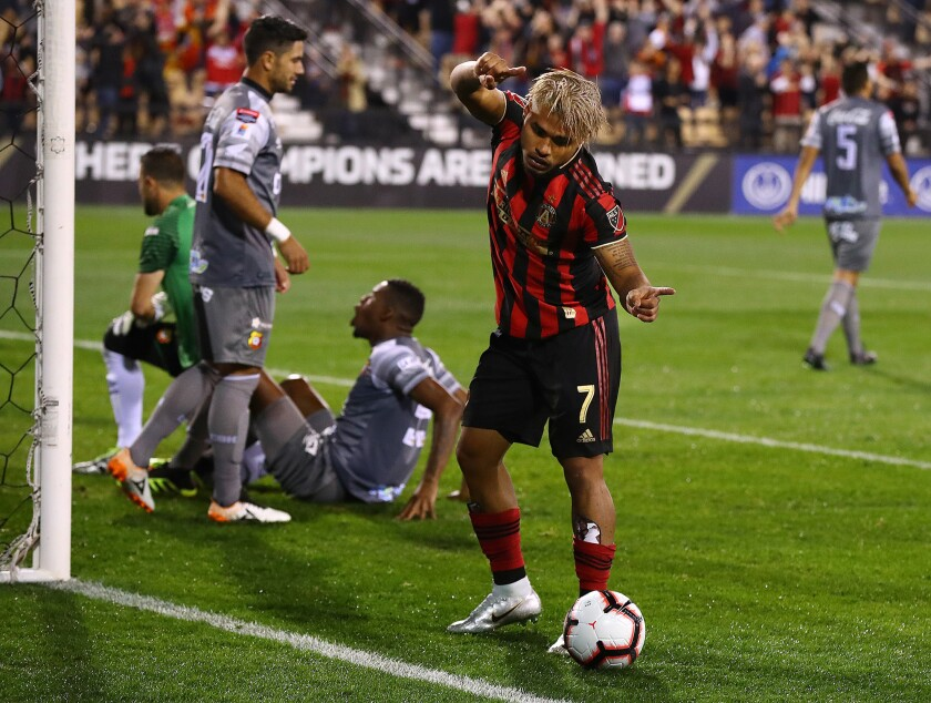Atlanta United foward Josef Martinez reacts to scoring a goal against C.S. Herediano for a 1-0 lead in their CONCACAF Champions League match on Thursday, Feb. 28, 2019, in Kennesaw, Ga. Atlanta United won, 4-0.