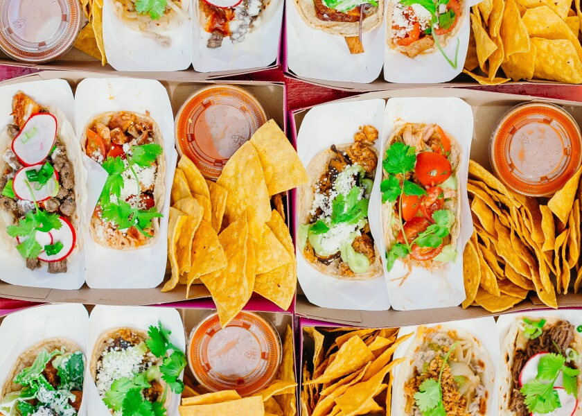 An assortment of tacos at Chicas Tacos, now open in Culver City.