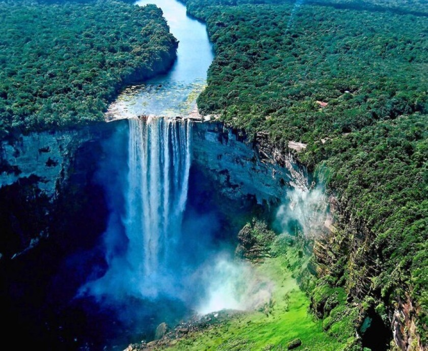 Spectacular Kaieteur Falls, on the Potaro River, is Guyana's signature attraction.
