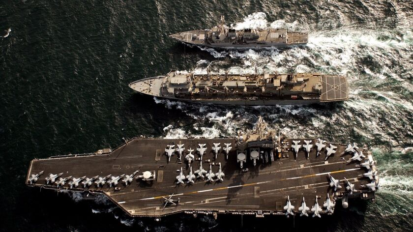 Glenn Defense Marine Asia, the company run by Leonard Glenn Francis, serviced ships including those belonging to the Ronald Reagan Carrier Strike Group. Three ships in that group are shown operating in the Persian Gulf on May 20, 2006.