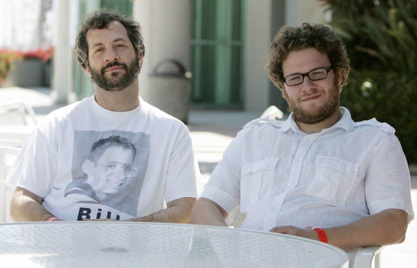 "In an interview with the L.A. Times, Judd Apatow, left, criticized theater chains for pulling ""The Interview,"" which stars Seth Rogen, right."