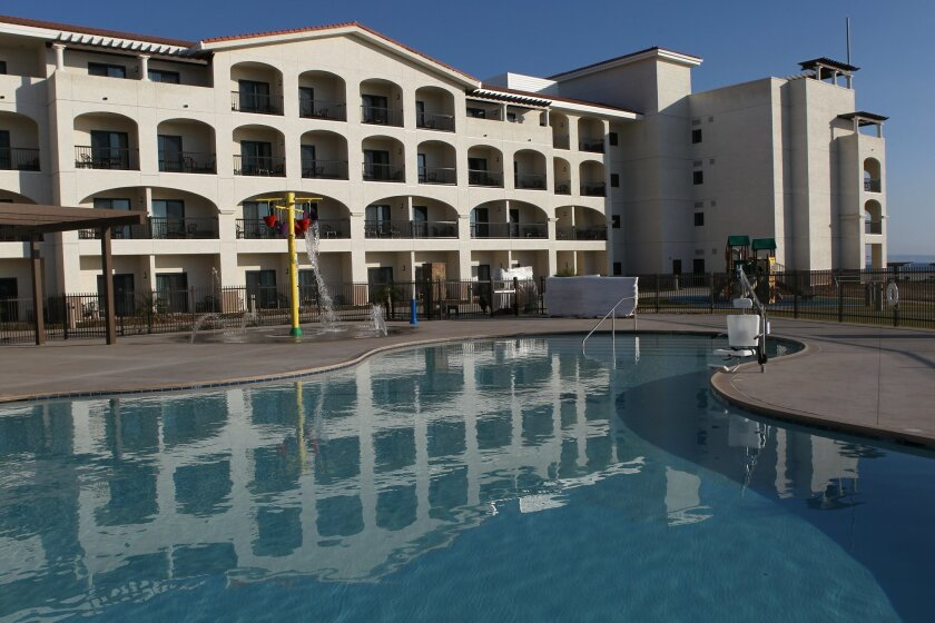 The swimming pool at the new Coronado Navy Lodge.