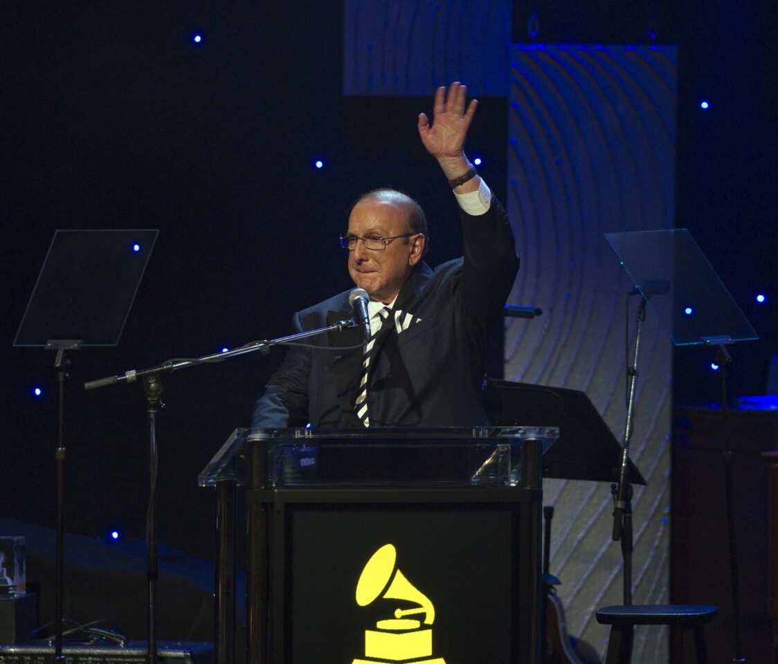 Clive Davis speaks to the crowd during the 2014 Pre-Grammy Gala at the Beverly Hilton.