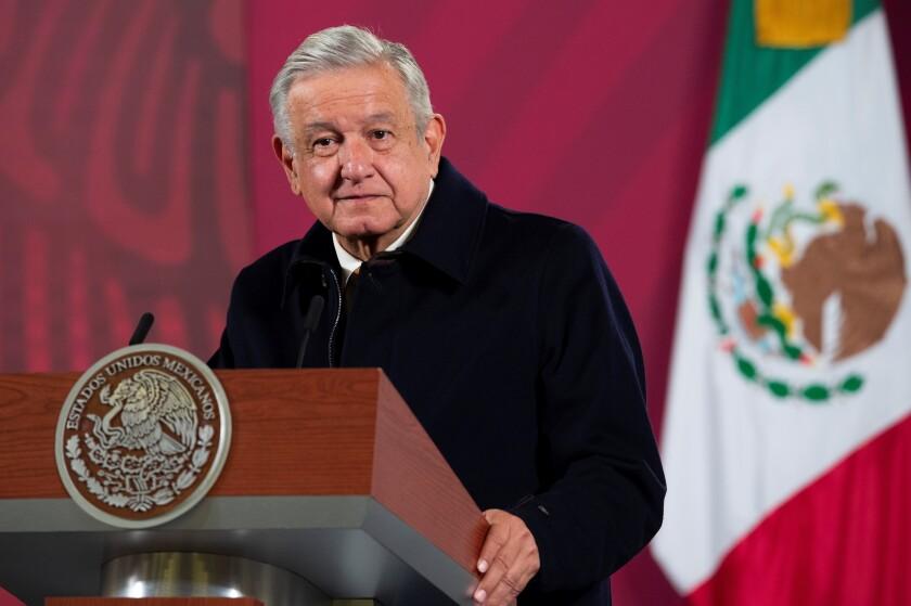 El mandatario Andrés Manuel López Obrador durante su conferencia de prensa matutina hoy