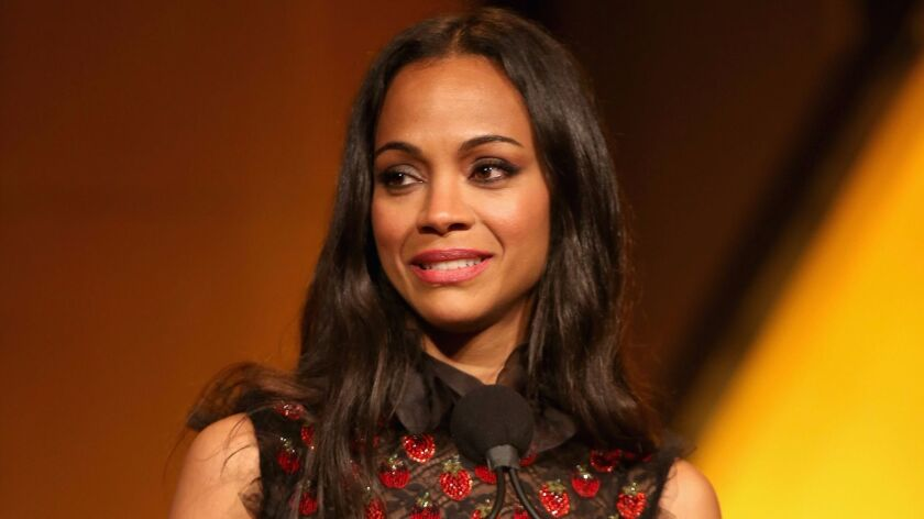Zoe Saldana is honored during the National Assn. of Latino Independent Producers' media summit at th