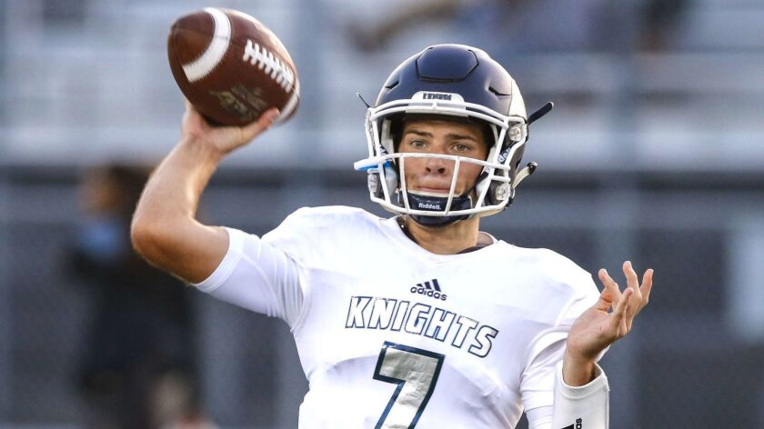 San Marcos quarterback Miles Hastings (shown in an earlier game) tossed a TD pass in the first half against Torrey Pines.