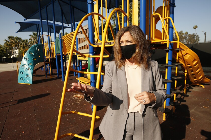 L.A. County Office of Education Supt. Debra Duardo stands at a play structure at Cerritos Elementary in Glendale.