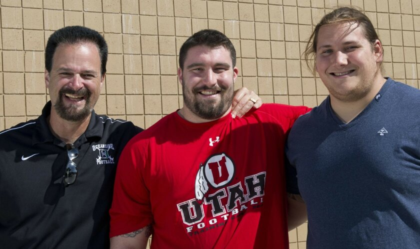 From left to right: Oceanside High School offensive line coach Rick Gerardi, and his former linemen Sam Brenner, and Brian Schwenke. Brenner and Schwenke will be a part of this year's NFL draft class.