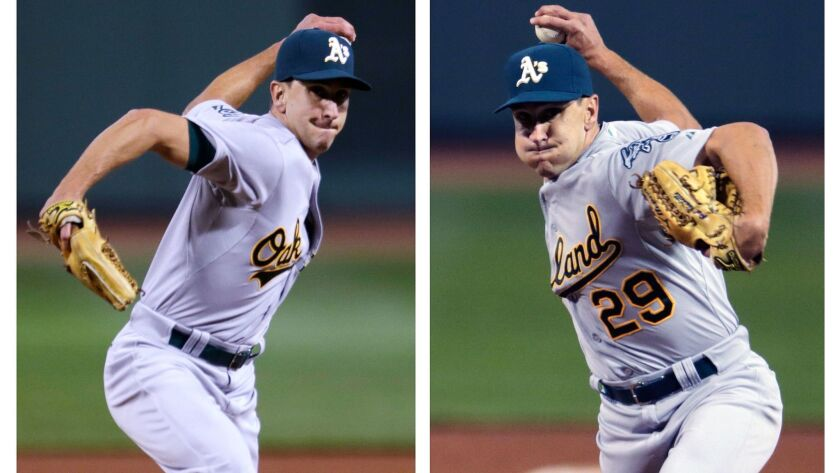 Ambidextrous pitcher Pat Venditte, pictured in 2015 as a member of the Oakland Athletics, had a 4.93 ERA with the Angels' triple-A club last season.