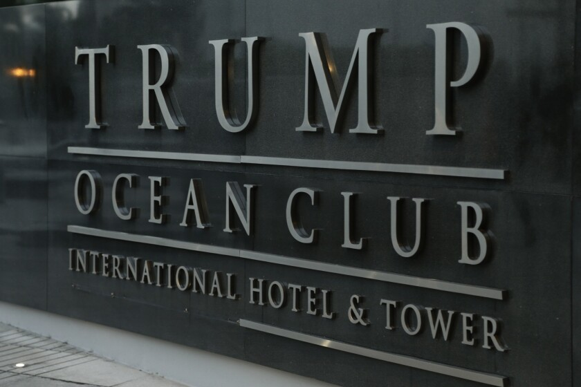 A marquee of the main entrance to the Trump Ocean Club International Hotel and Tower is seen in Panama City, on Feb. 23, 2018.