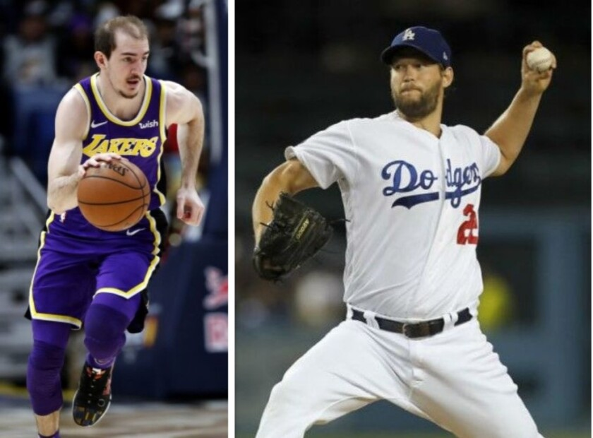 Alex Caruso (Lakers) y Clayton Kershaw (Dodgers).