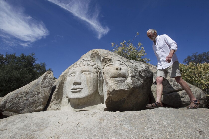 Back country activist, philosopher, artist, builder and animal lover Duncan McFetridge has completed a stone Buddha head on his property in Descanso.
