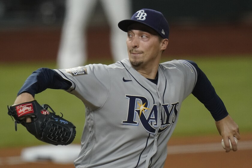 Blake Snell pitches for the Rays during the World Series.