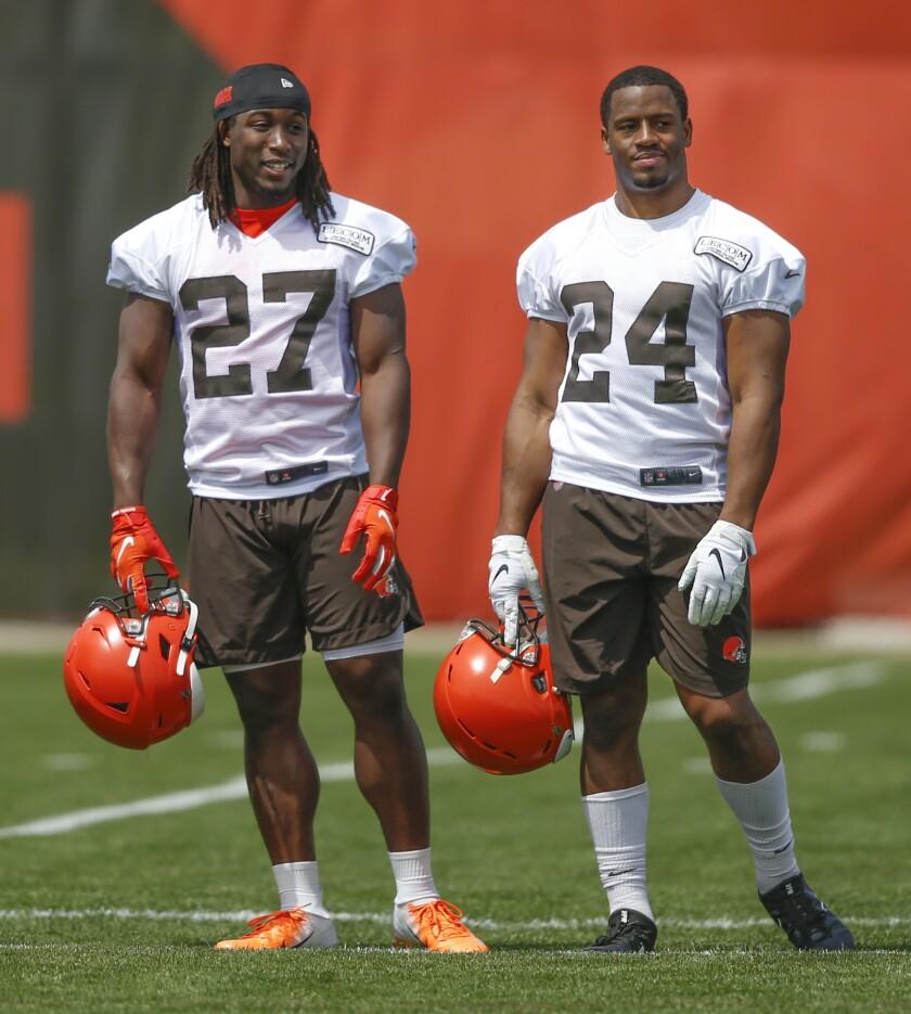 Browns Chubb & Hunt Football