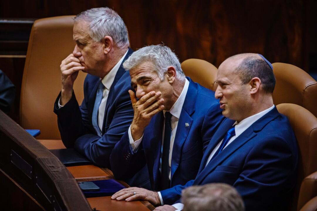 Deputy Prime Minister Benny Gantz, Foreign Affairs Minister Yair Lapid and Prime Minister Naftali Bennett.