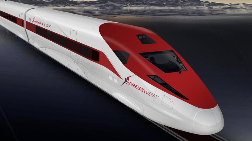 Una representación de un tren de XpressWest.