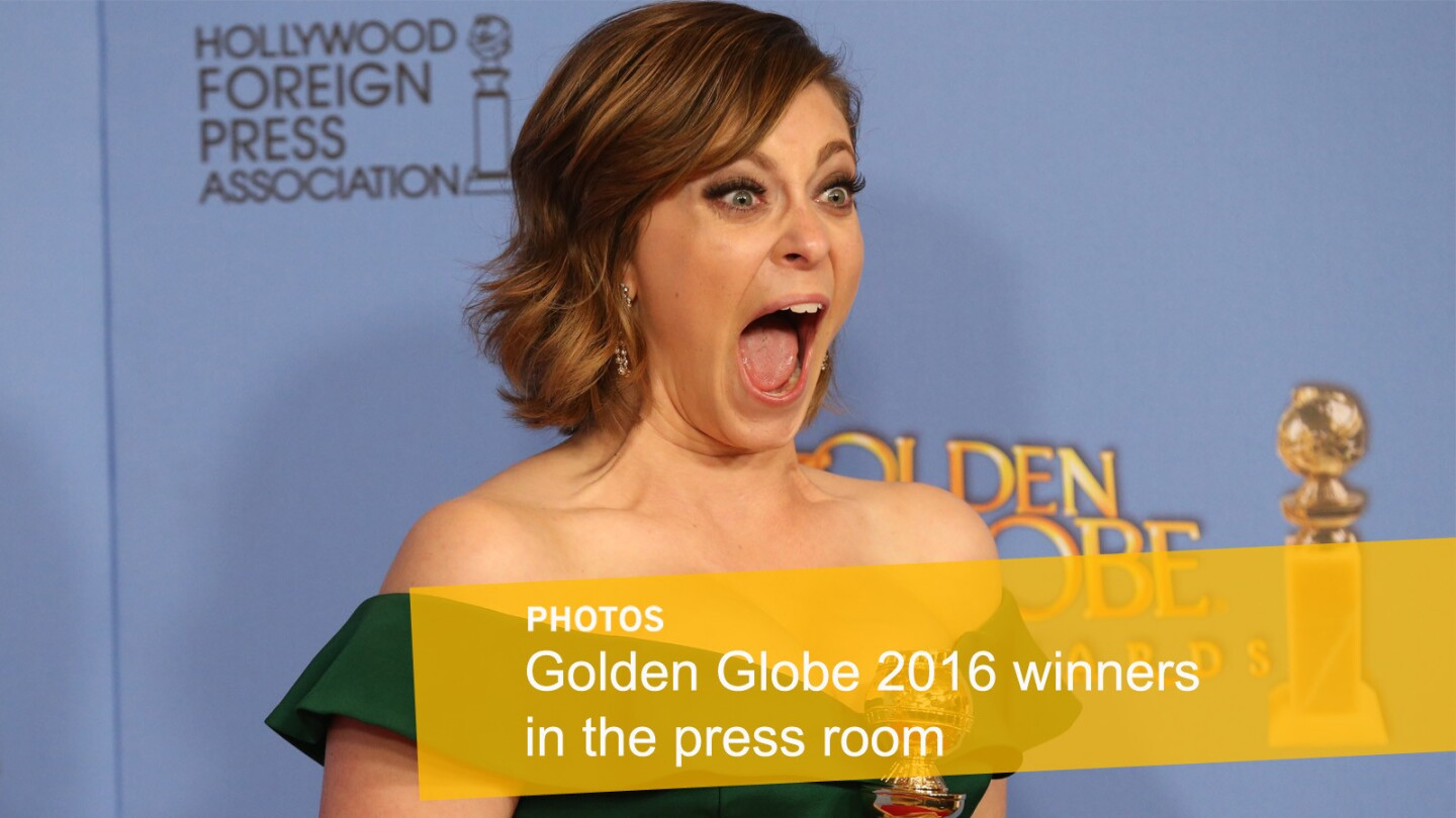 Golden Globe winners, including Rachel Bloom with her Golden Globe for Actress in a TV Series, Comedy or Musical, stop by the 73rd Annual Golden Globe Awards press room at the Beverly Hilton Hotel on Jan. 10, 2016.