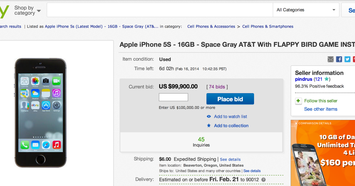 Ebay Cancels Auction Of 99 900 Iphone With Flappy Bird Seller Says Los Angeles Times
