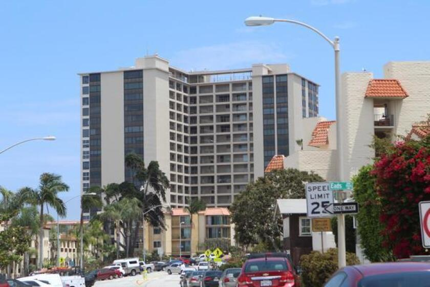 The 18-story condo complex at 939 Coast Blvd., La Jolla, opened in 1964 as the Huntley Building. Photo taken in July 2019.