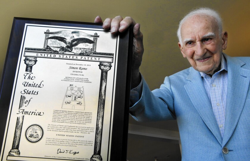 Simon Ramo received his last patent, for a computer-based learning invention, at age 100.