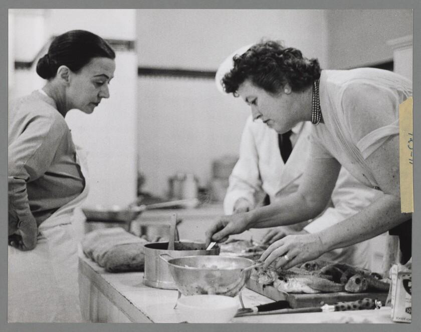 Julia Child cooking in Paris in 1956