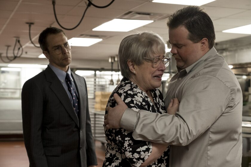 """Sam Rockwell, left, Kathy Bates and Paul Walter Hauser in Clint Eastwood's """"Richard Jewell"""" (2019)."""