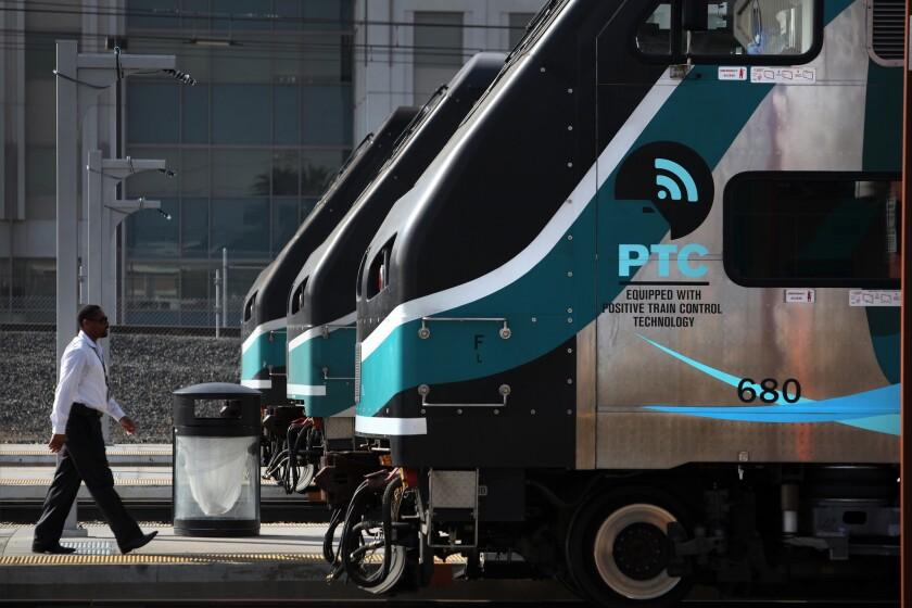 Metrolink trains sit at Los Angeles' Union Station.