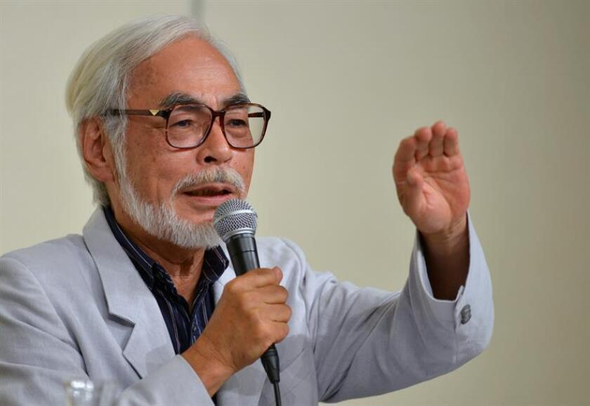 Japanese film director and animator Hayao Miyazaki speaks during a press conference in Tokyo, Japan, 06 September 2013. EFE/EPA/File