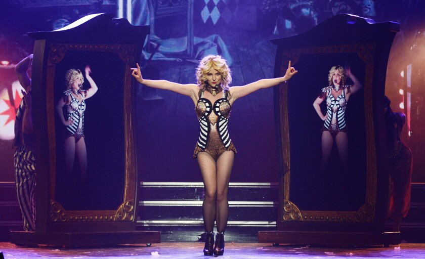 """Britney Spears performs during the opening night of her new Las Vegas residency, """"Britney: Piece of Me,"""" at Planet Hollywood Resort & Casino."""