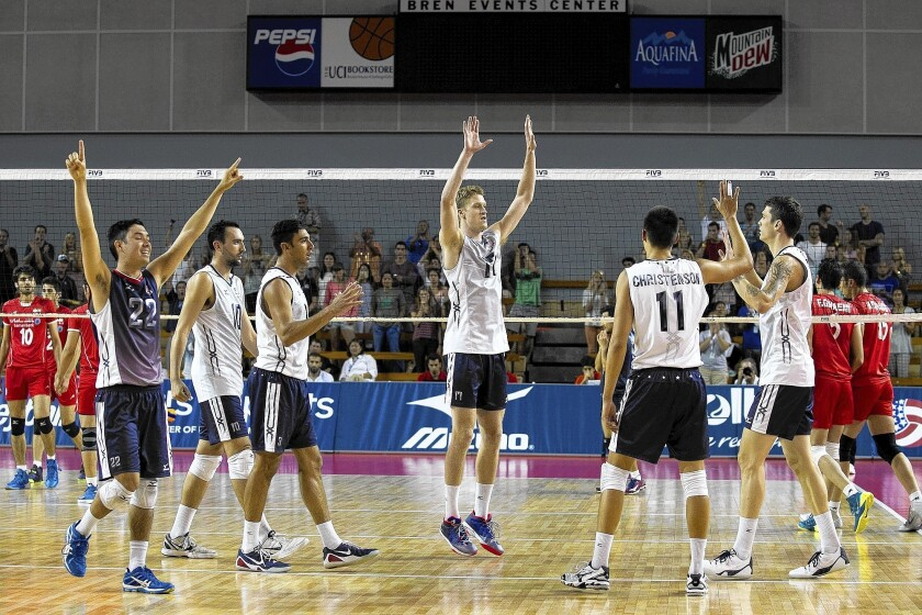 Team USA celebrates a sweep over Iran during the USA Volleyball Cup at the Bren Events Center on Saturday.