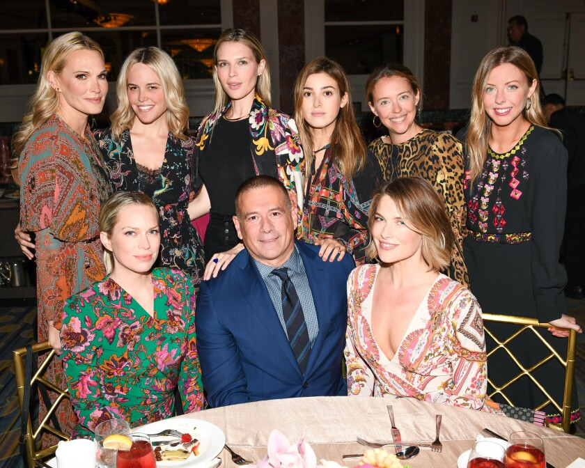 Standing from left: Molly Sims, Ali Wise, Sara Foster, Jamie Mizrahi, Annie Meyers-Shyer and Hallie Meyers-Shyer, and seated from left, Erin Foster, Marco Pievani and Ali Larter at MOCA's Distinguished Women in the Arts luncheon on Nov. 1.