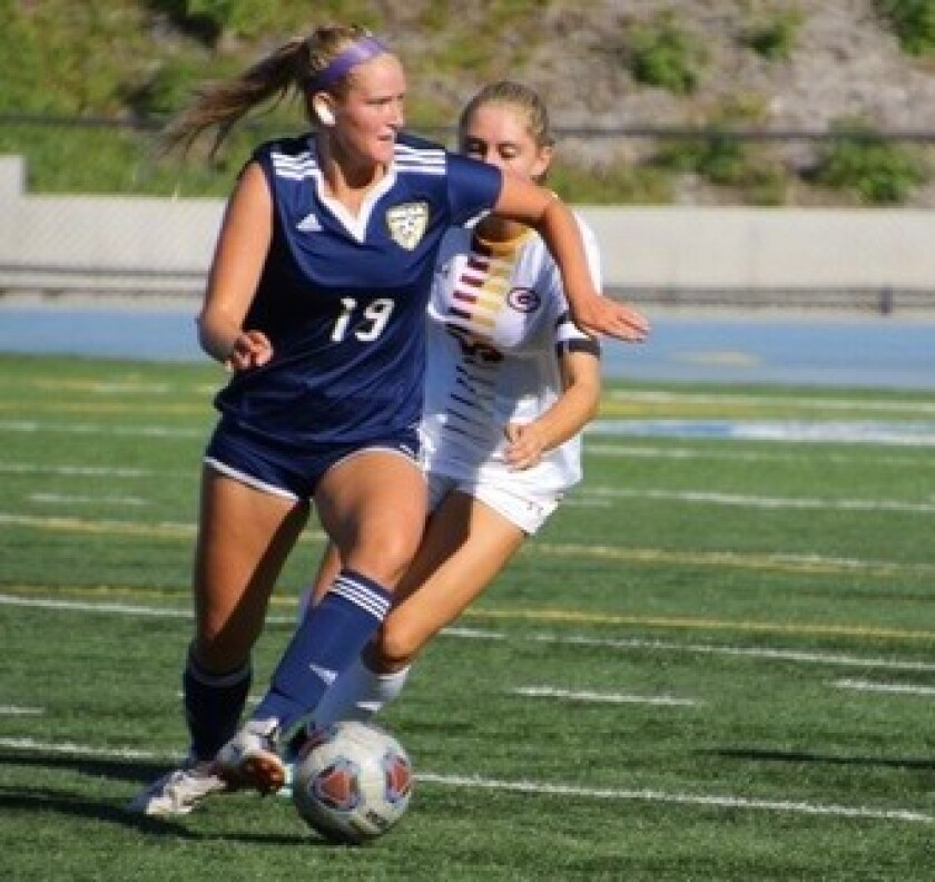 Westview High alum Violet Renard (19) has scored 35 goals for San Diego Mesa College this season.