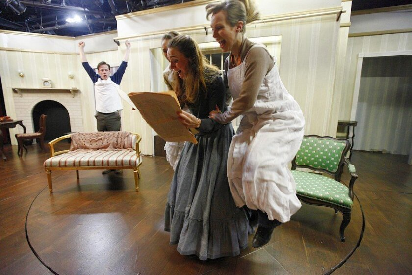 "Maddie Baldwin (left) as ""Amy,"" Caroline Kinsolving as ""Jo"" and Brooke Byler as ""Beth"" rehearse for the North Coast Rep's ""Little Women."""
