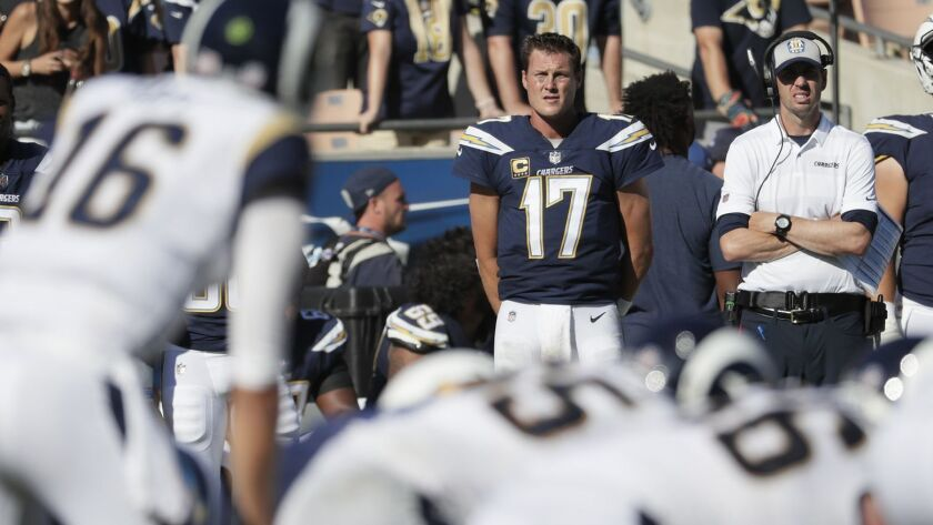 LOS ANGELES, CA, SUNDAY, SEPTEMBER 23, 2018 -Chargers quarterbacks Geno Smith, left, and Philip Rive