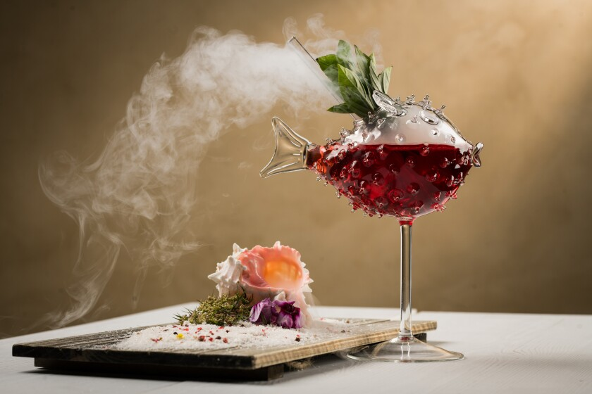 Serea, the hip new restaurant at the Hotel Del features creative cocktails that Clique Hospitality has become known for, like the High Tide Cocktail, with tequila, Meyer lemon juice, ginger beet juice, Thai basil and liquid nitrogen.