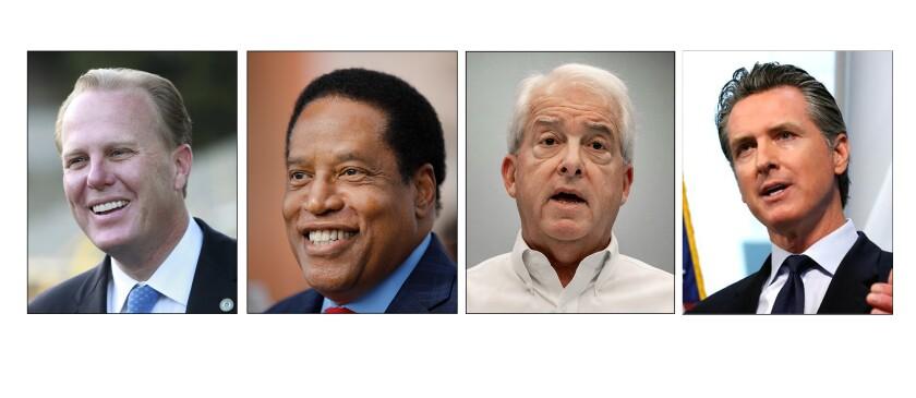 Gubernatorial recall candidates Kevin Fauloner, Larry Elder, John Cox and Governor Gavin Newsom.
