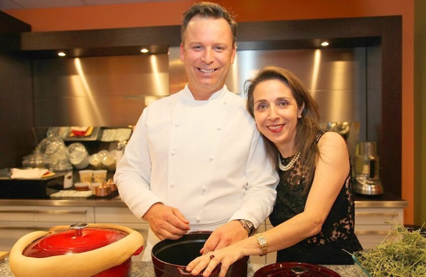 William Bradley, executive chef of Addison at The Grand Del Mar, and host Bibi Kasrai of Harvard Cookin' Girl during the 'One Chef, One Dish, One San Diego' cooking demo and charity fundraiser at Harvard Cookin' Girl kitchens in La Jolla; May 19, 2015