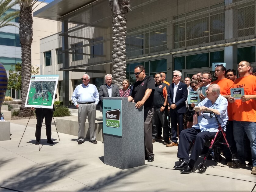 Cal Fire Fighters union Local #2881 Vice President David Leonardi speaks at a news conference announcing his organization's endorsement of the Newland Sierra housing development in North County. A countywide measure will ask voters in March whether the approval of the development issued last year should be overturned.