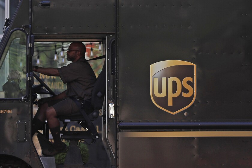 UPS driver in truck