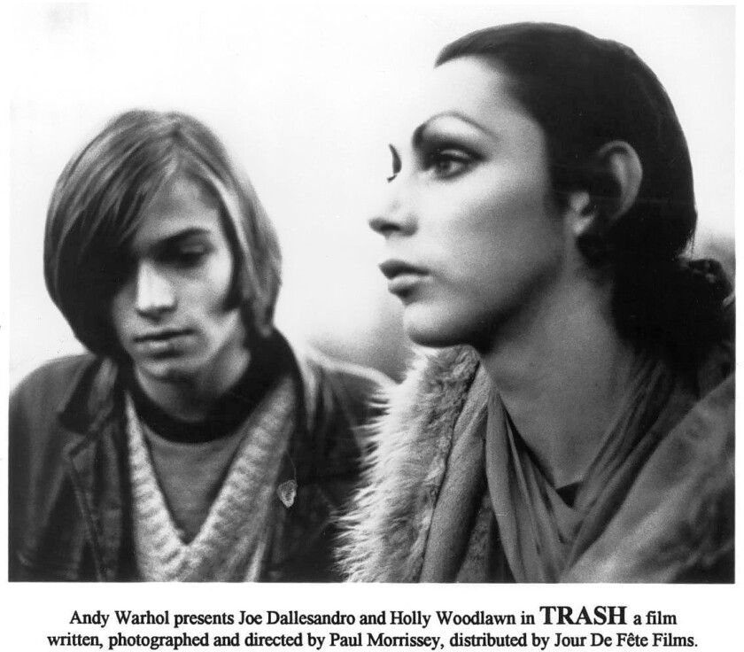 "Holly Woodlawn, right, with Johnny Putnam in ""Trash"""