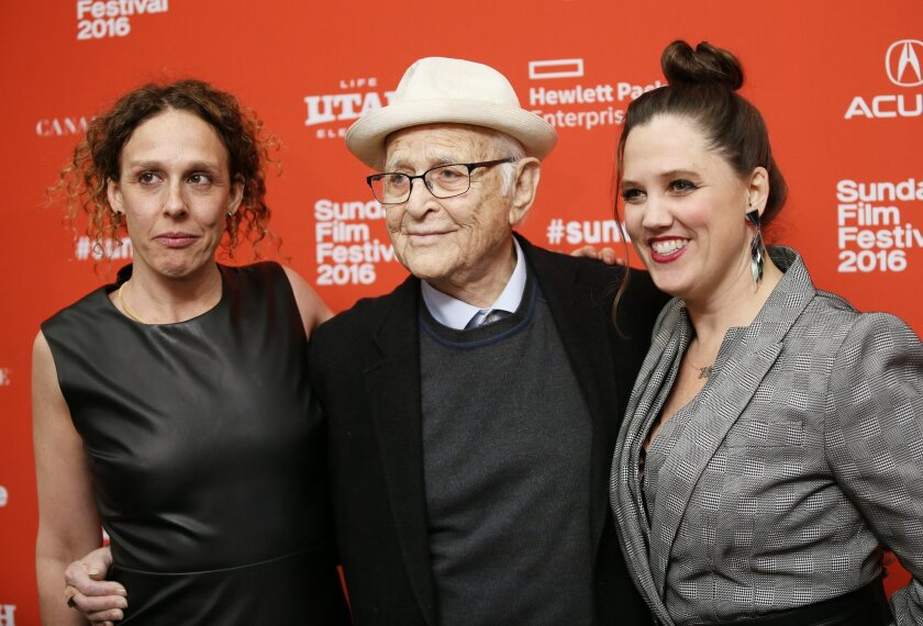 """Directors Rachel Grady, left, and Heidi Ewing, right, pose with Norman Lear at the premiere of """"Norman Lear: Just Another Version of You,"""" during the 2016 Sundance Film Festival on Thursday, Jan. 21, 2016, in Park City, Utah. (Photo by Danny Moloshok/Invision/AP)"""