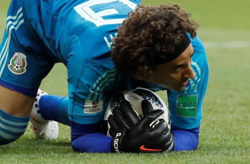 Goalkeeper Guillermo Ochoa of Mexico in action during the FIFA World Cup 2018 group F preliminary round soccer match between South Korea and Mexico in Rostov-On-Don, Russia, 23 June 2018. EFE