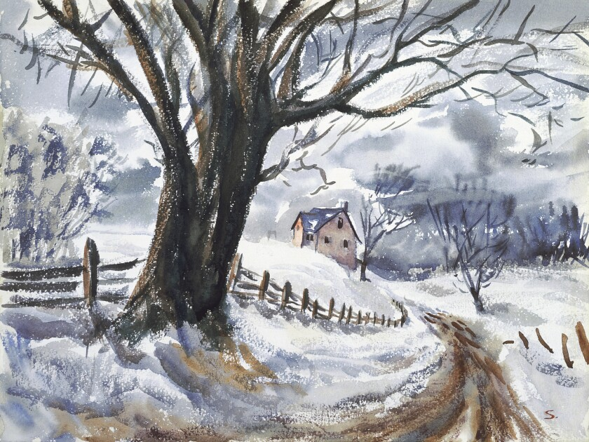"""Untitled [Winter FLurry],"" circa 1946, watercolor on paper."