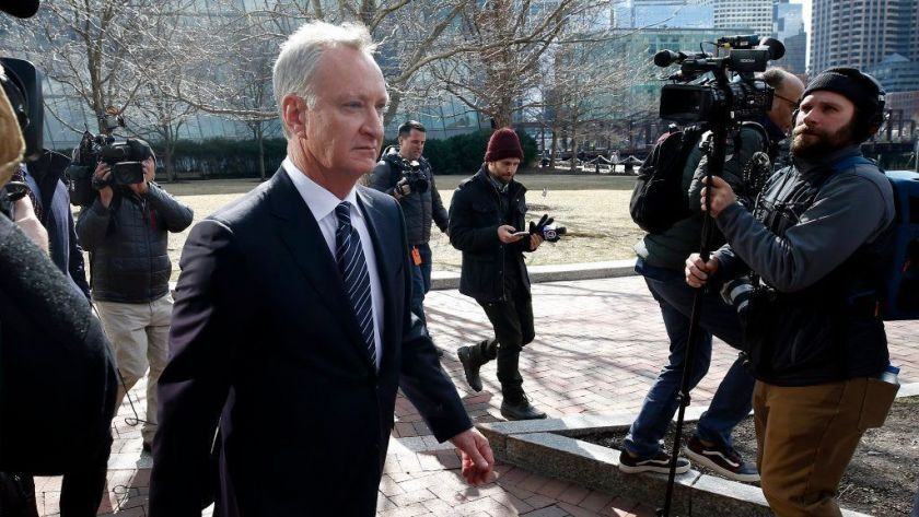 Toby Macfarlane, a father to two from Del Mar, leaves federal court in Boston in April.