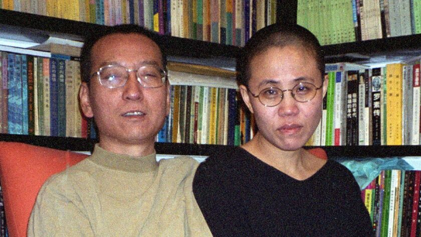 Liu Xiaobo and his wife, Liu Xia, in Beijing in October 2002.