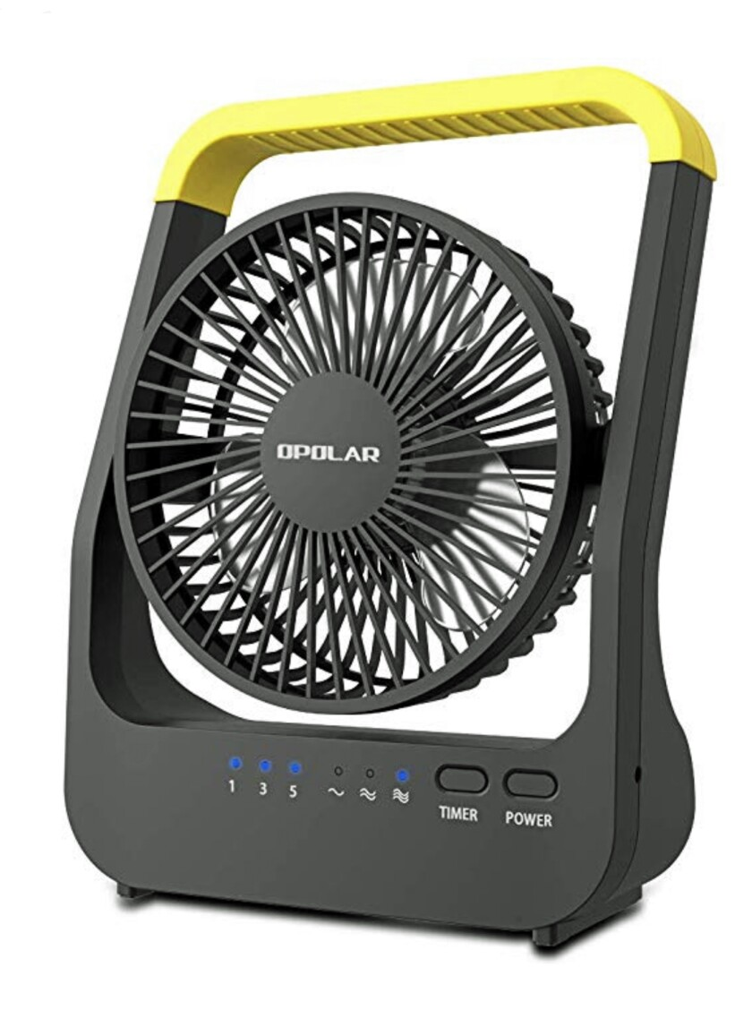 An Opolar  portable fan with three speed choices and a tilting head.